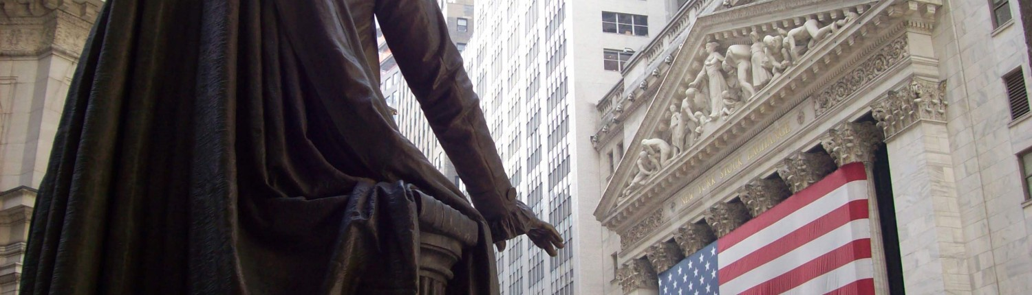 A view of the Stock Exchange from the steps of Federal Hall