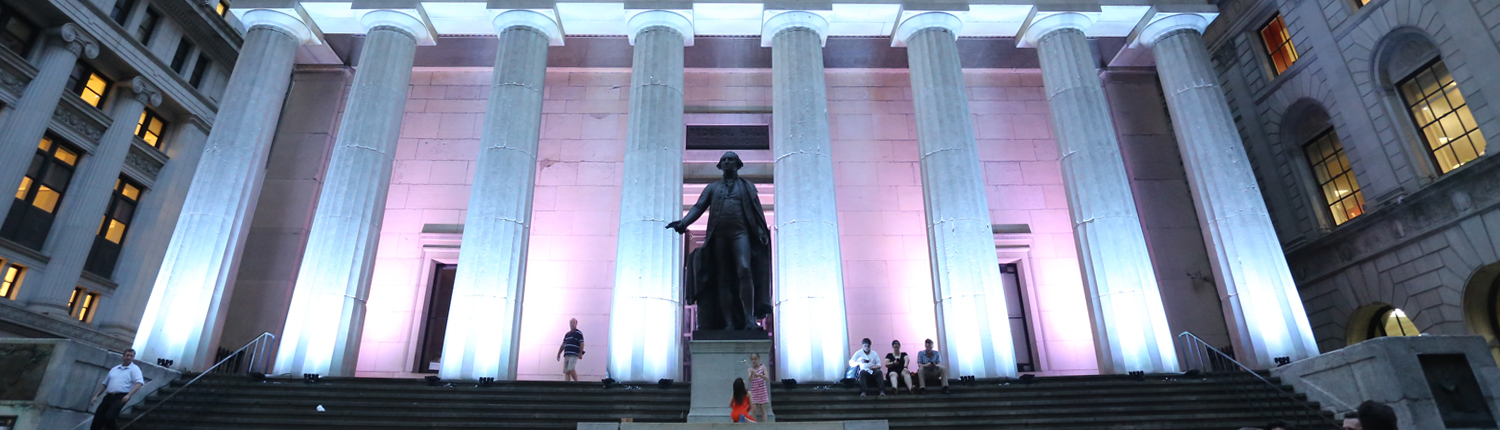 Federal Hall entrance at dusk