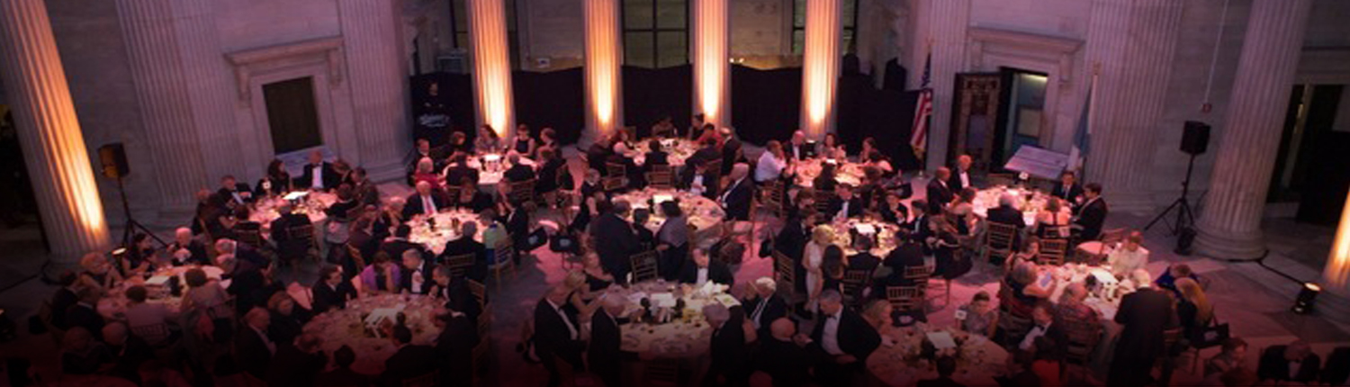 A birds-eye view of a dinner event in Federal Hall's Grand Rotunda